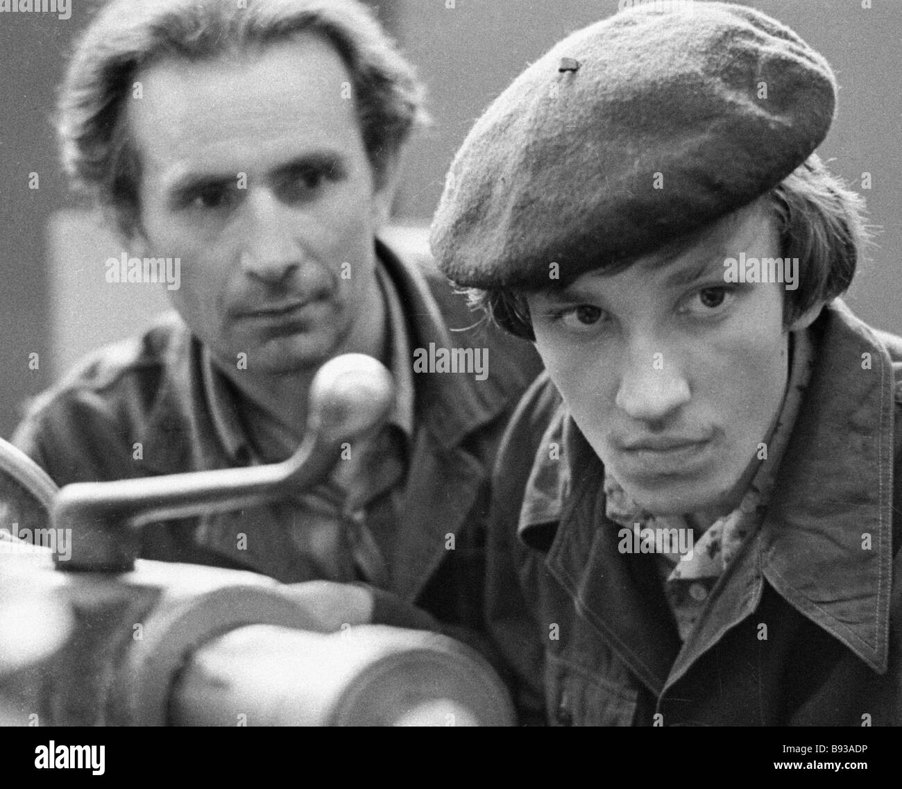 Foreman of production technical school No 57 with his apprentice - Stock Image