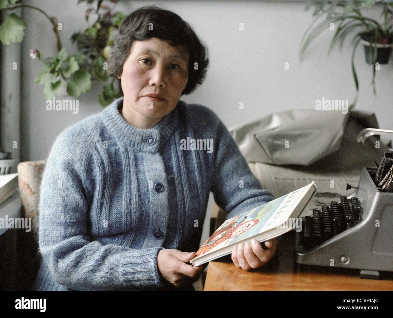 Lyudmila Ainana the author of an ABC book for the Eskimo language - Stock Image
