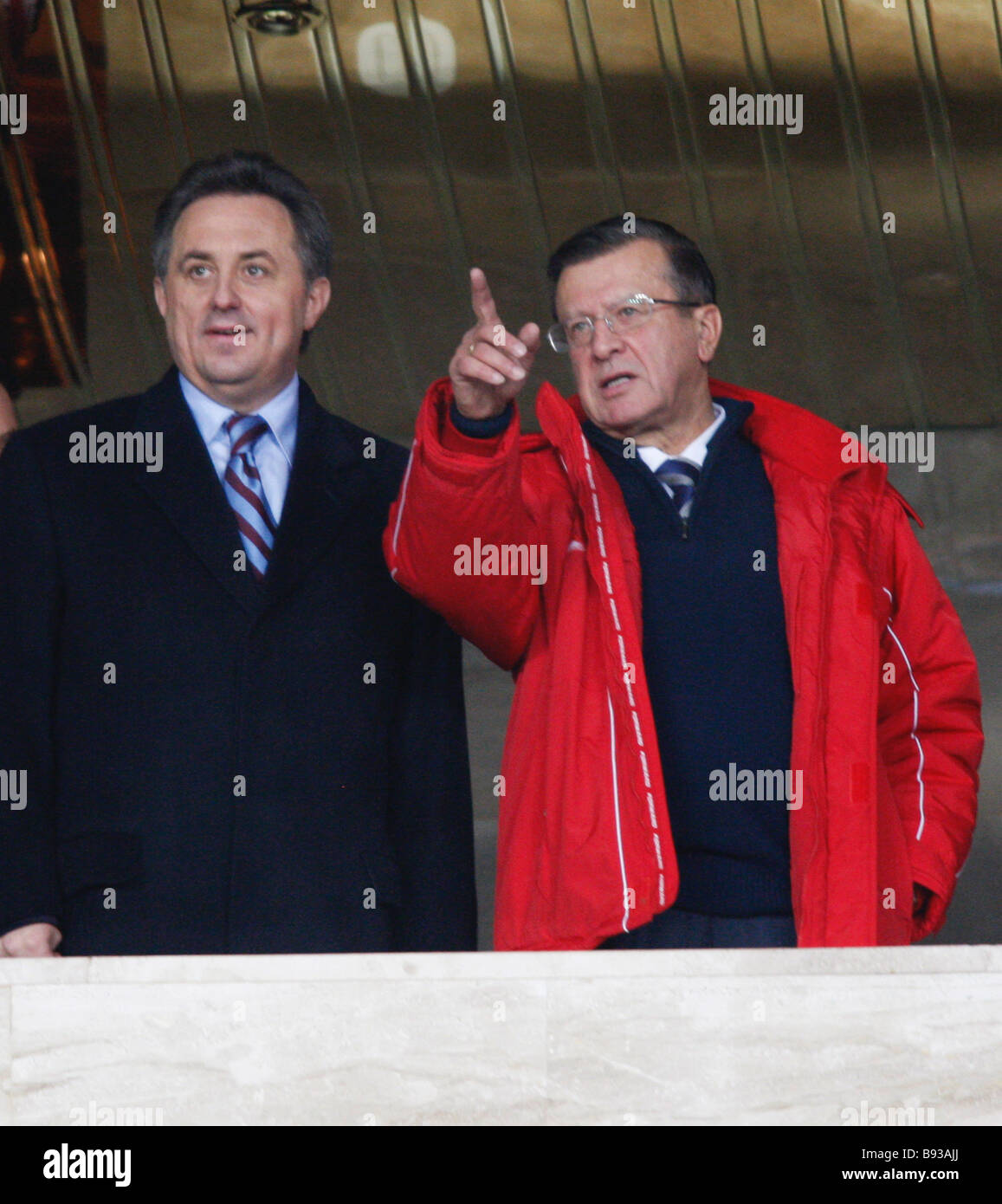 17 October 2007 Russian Prime Minister Victor Zubkov and Vitaly Mutko President of the Russian Football Union RFU - Stock Image