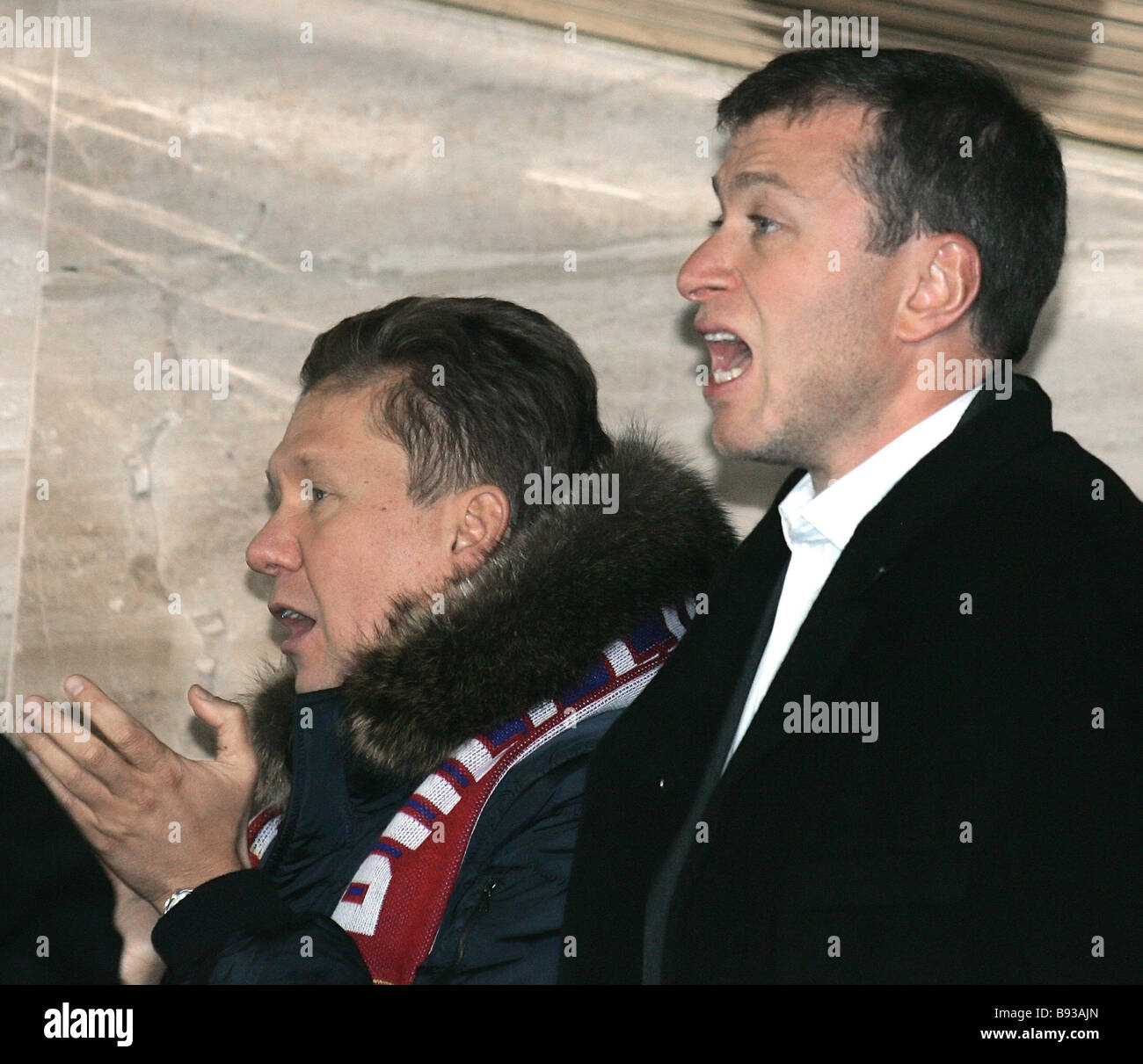 17 October 2007 Alexei Miller head of Gazprom and Governor of Chukotka Roman Abramovich during the England Russia - Stock Image
