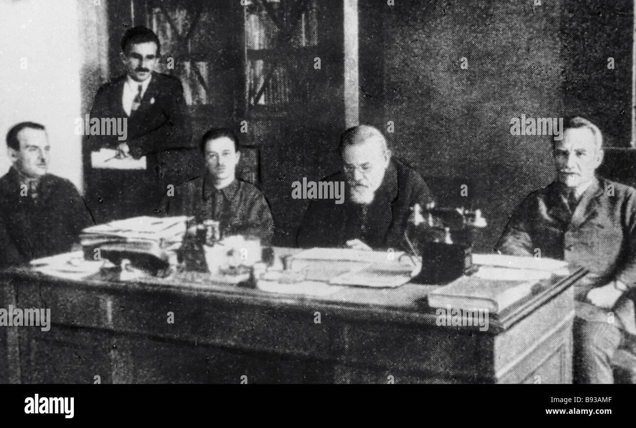 Collegium members of the RSFSR Central Archives Artishevsky Soviet historian Professor Vladimir Maksakov Soviet - Stock Image