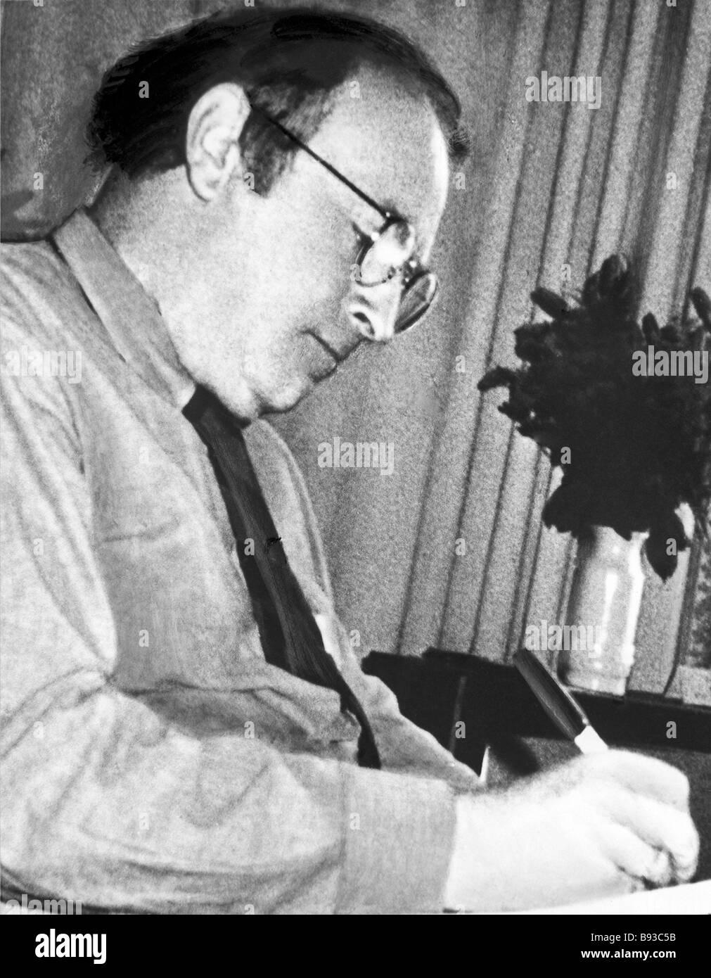 Nobel award winner Joseph Brodsky 1940 1996 at work - Stock Image