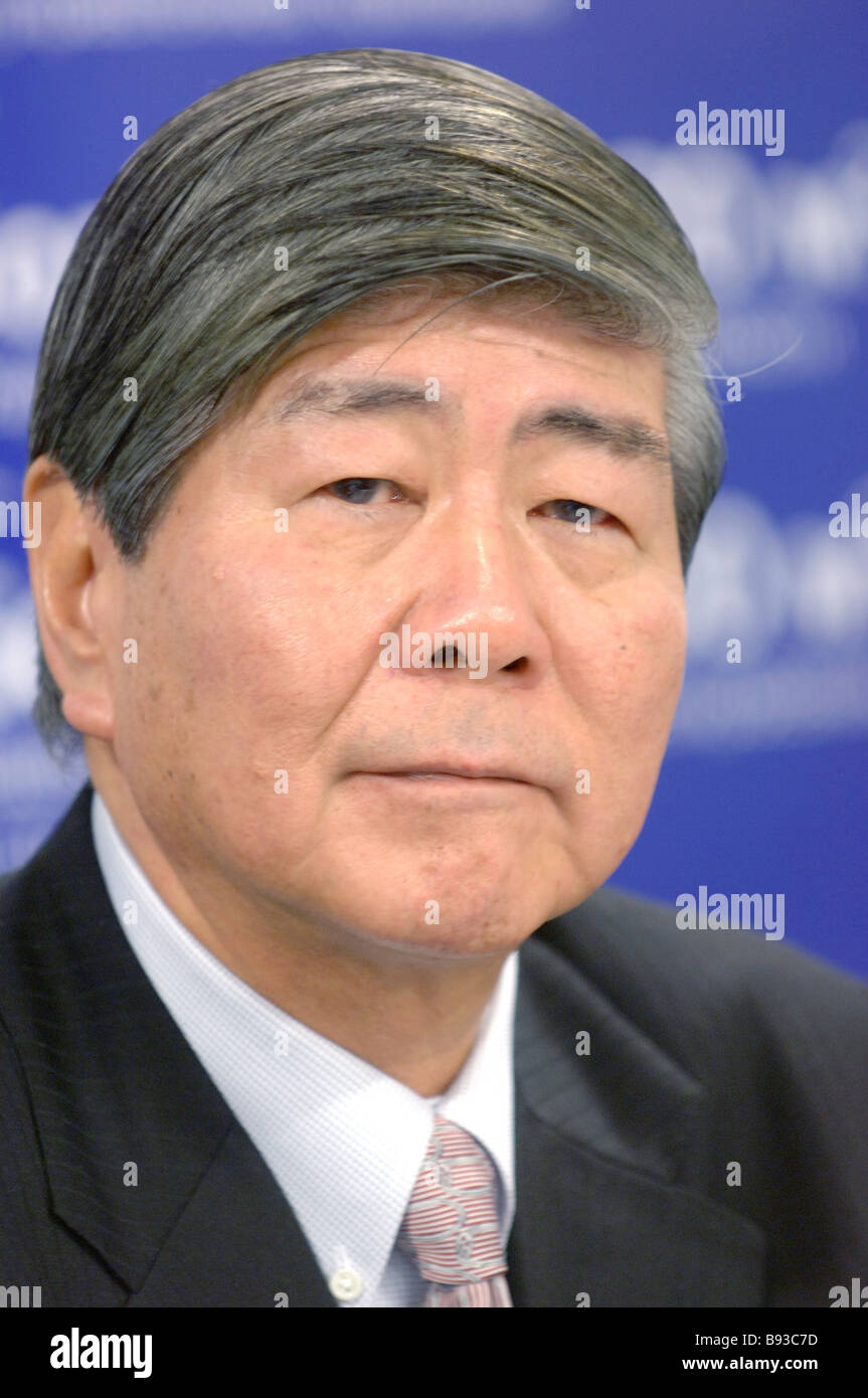 Chairman of the Board of Directors of Nikken Sekkei Ltd Mitsuo Nakamura at a news conference in RIA Novosti - Stock Image