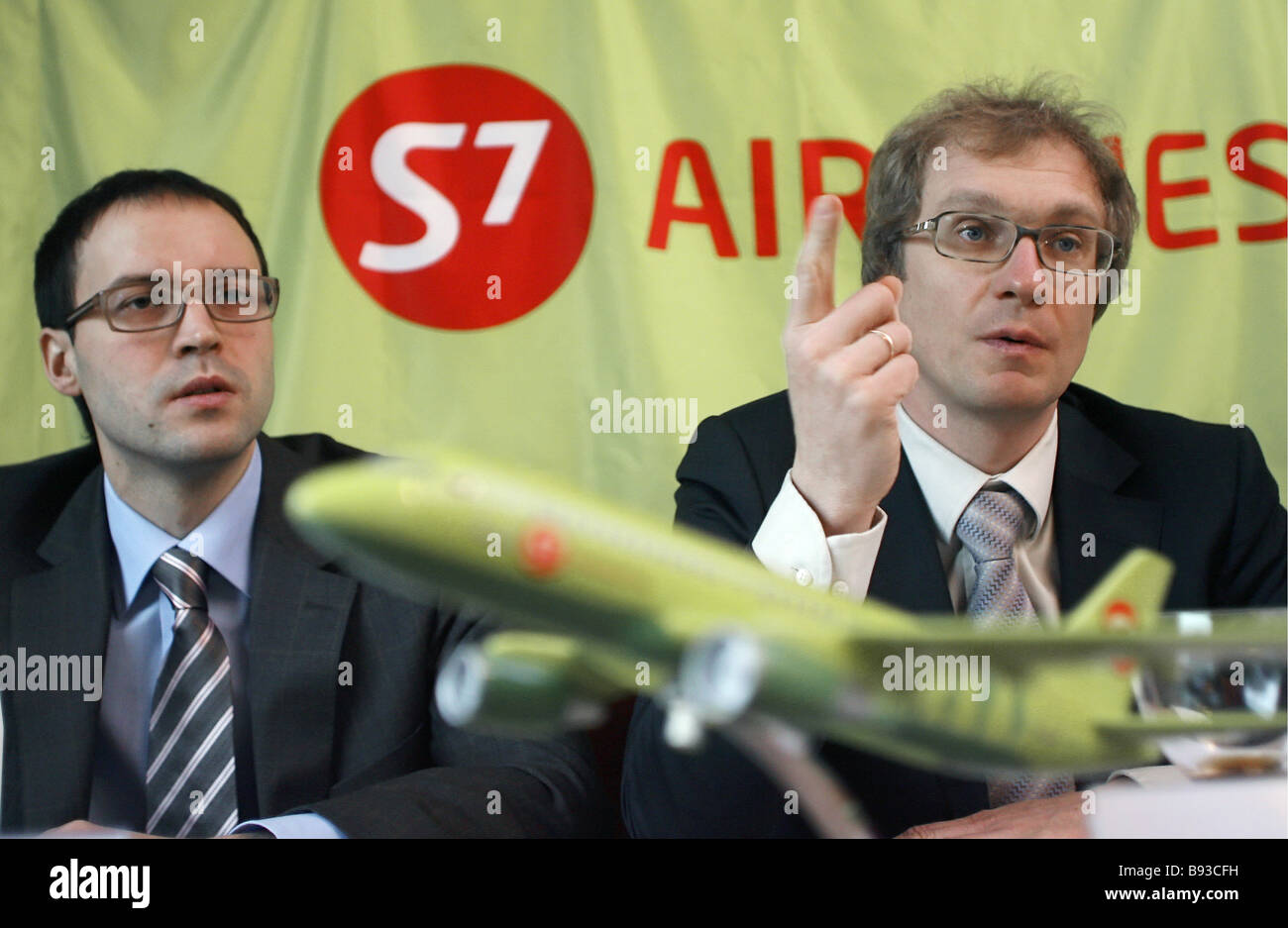 Vadim Besperstov the commercial director of S7 Group left and Anton Yeryomin the deputy general director of the - Stock Image