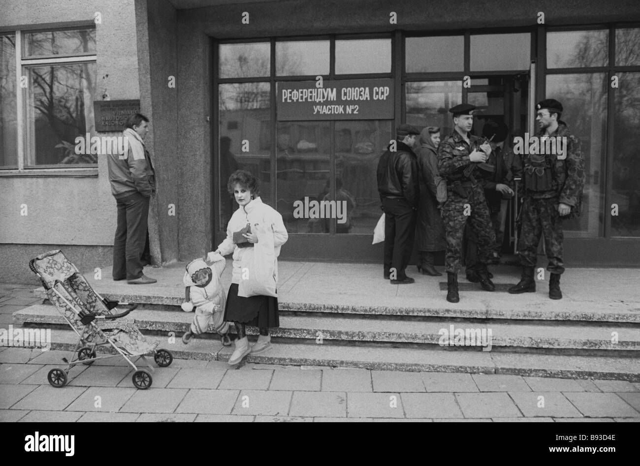 Polling station in Lithuania s New Vilno town during March 17 1991 All Union referendum - Stock Image