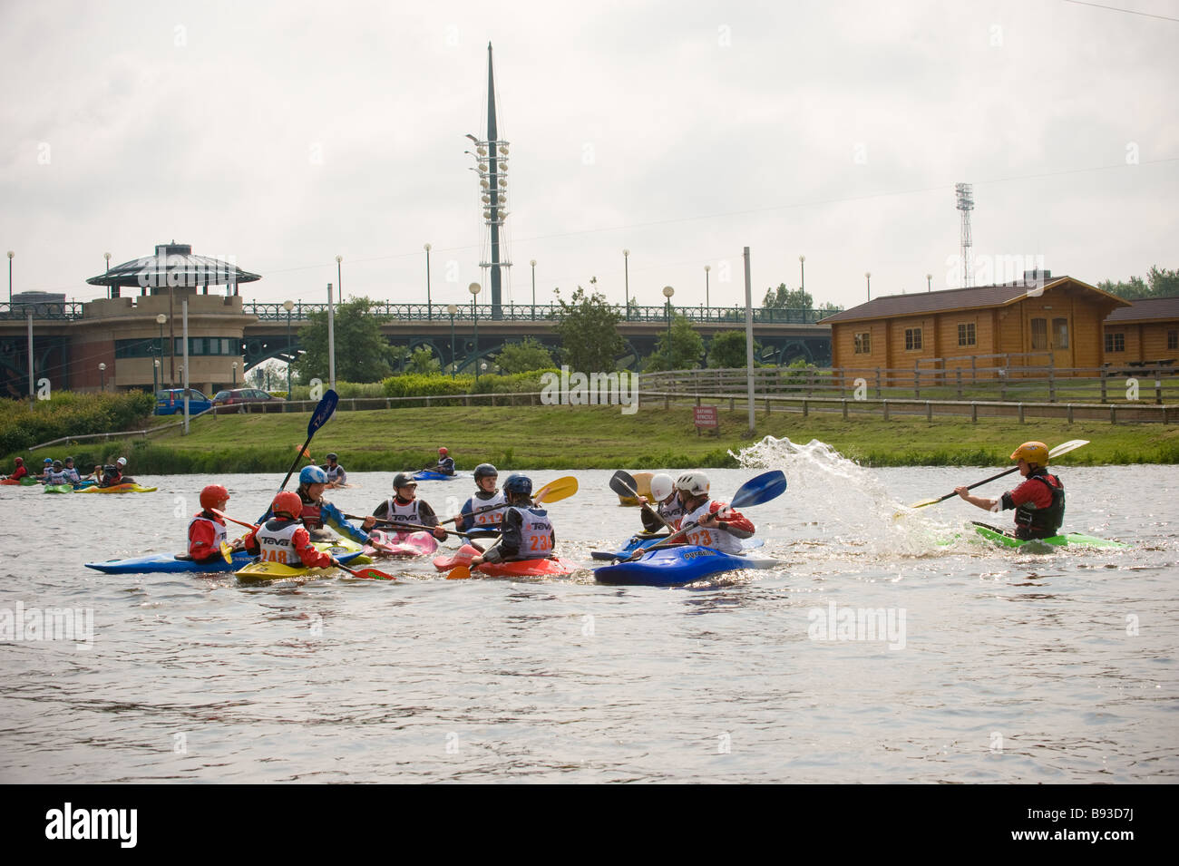 Kayak training at Teesside white water centre River Tees UK - Stock Image