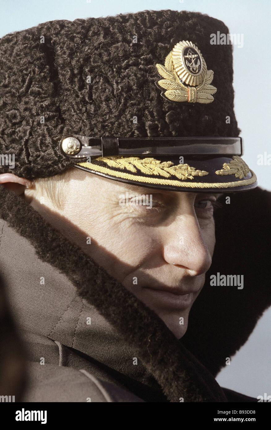 Russian Acting President Vladimir Putin aboard the nuclear powered submarine Karelia - Stock Image