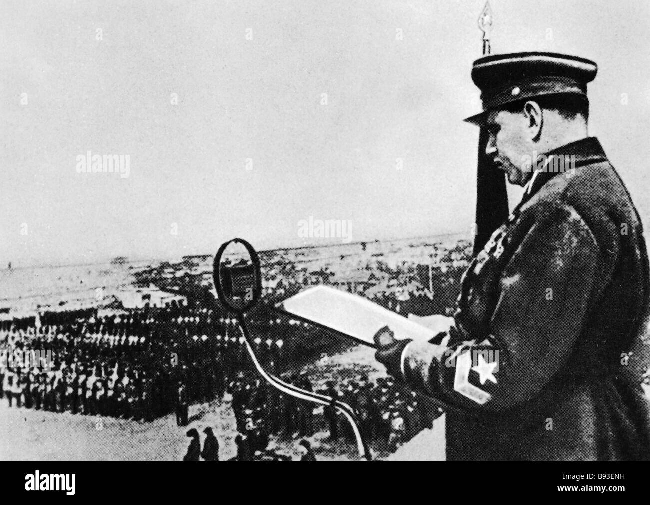 Marshal Vasily Blyukher commander of the Special Far Eastern Army swears in units of the Khabarovsk garrison - Stock Image