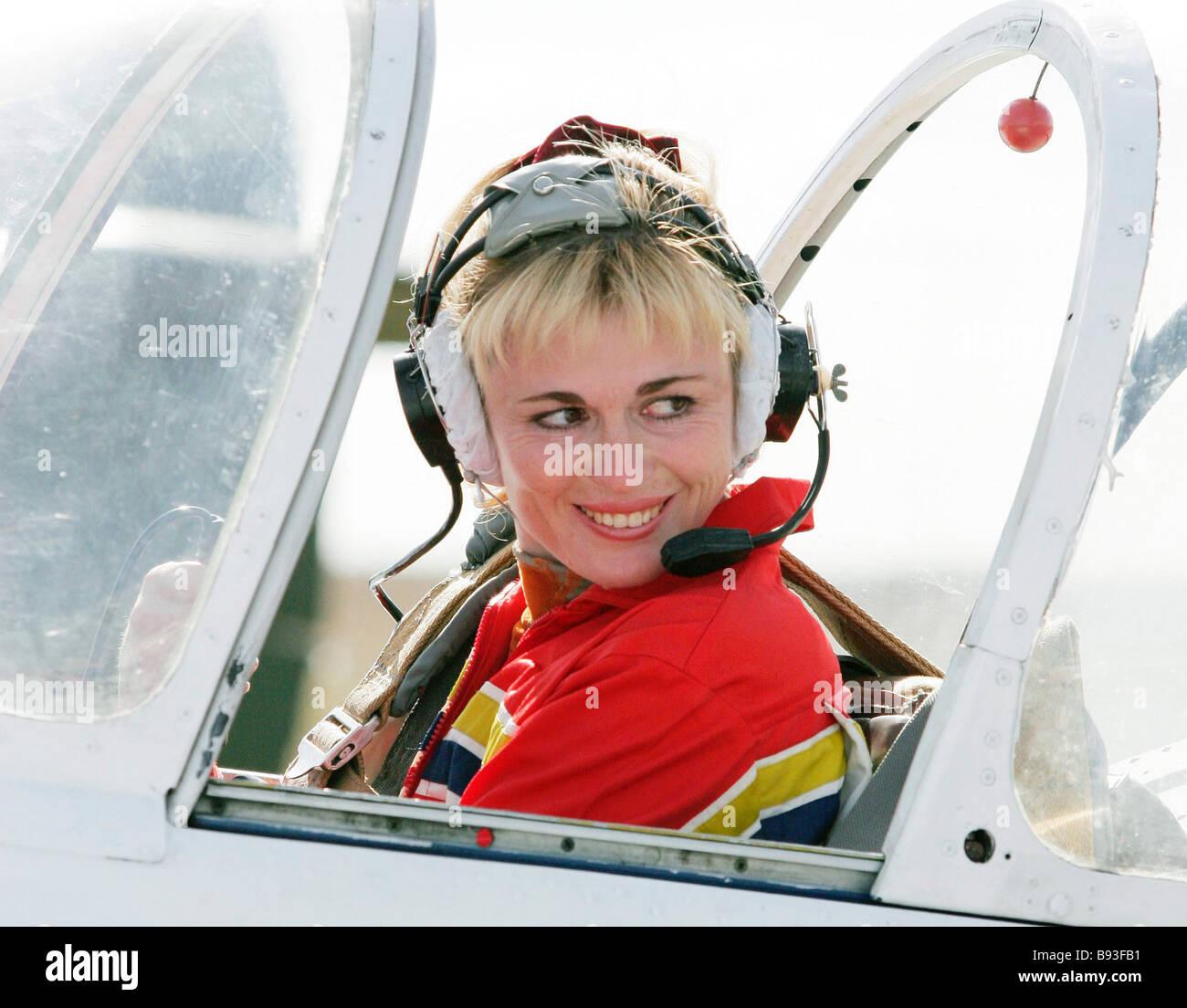 Svetlana Kapanina six time world aerobatics champion piloting piston powered aircrafts - Stock Image