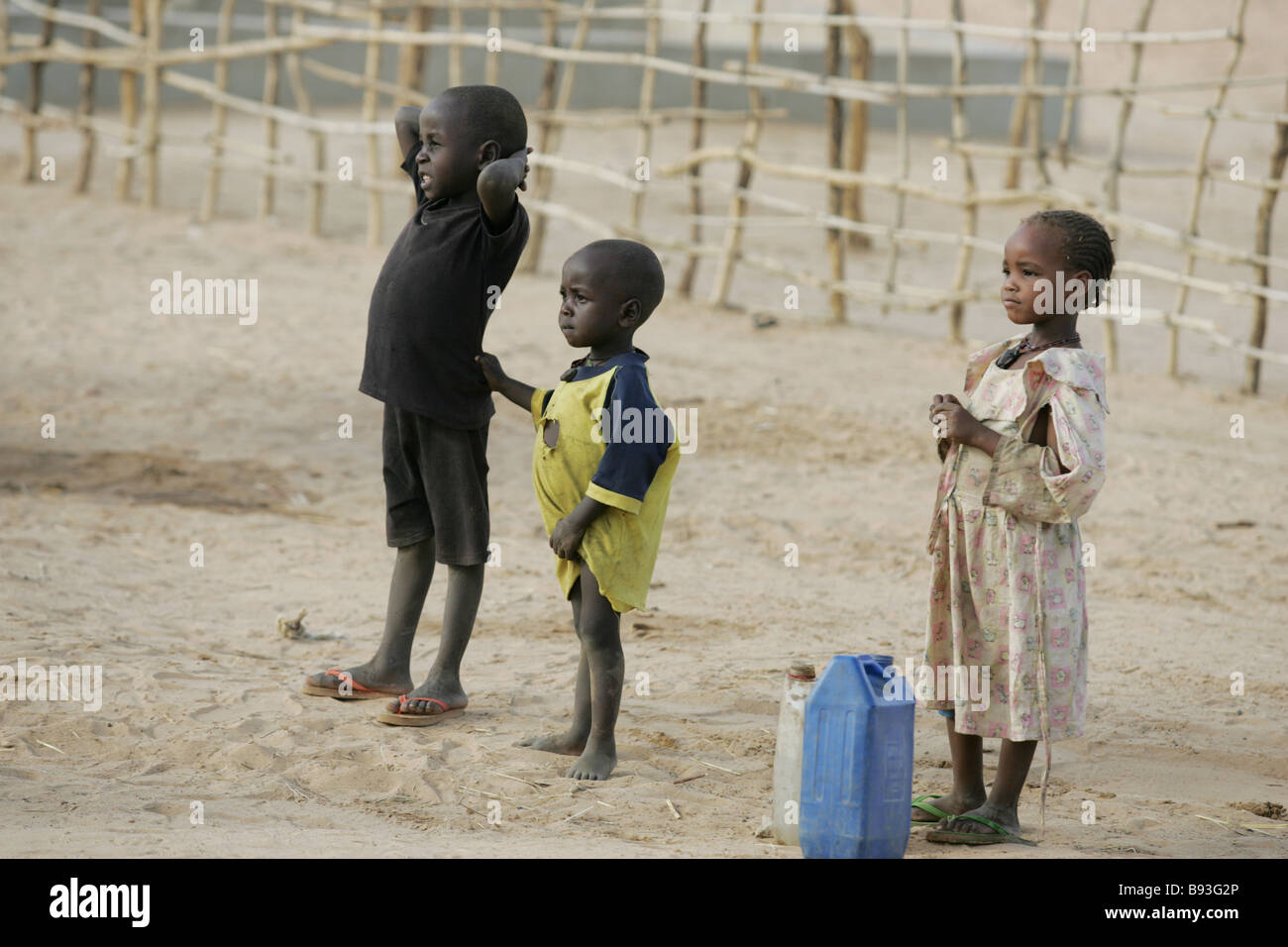 Children pictured  in an internally displaced persons (IDP) camp in Goz Beida, Eastern Chad, Africa Stock Photo