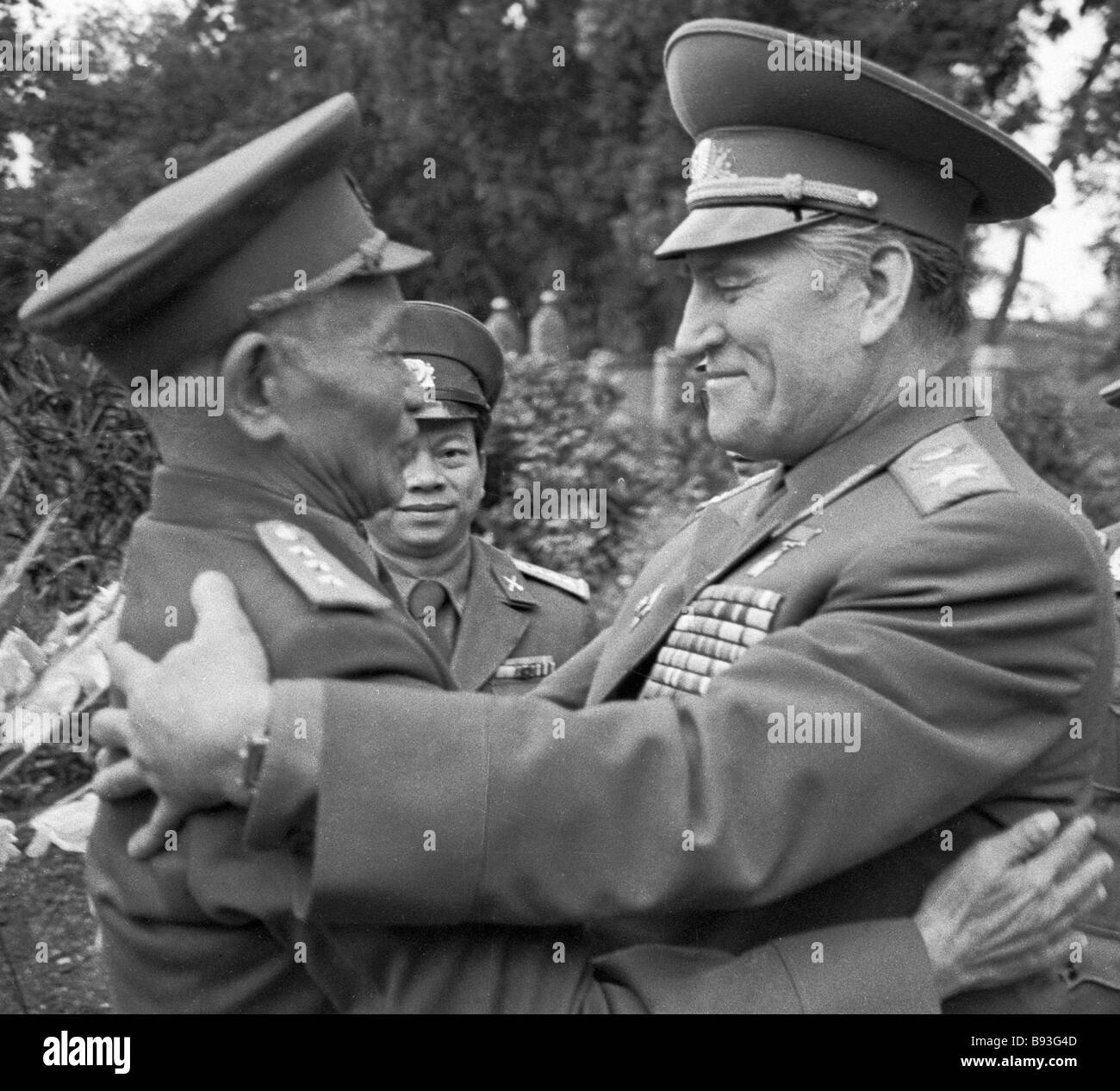 Marshall of the Soviet Union Vasily Petrov right and Vietnamese People s Army s Chief of Staff Le Chong Tan during - Stock Image