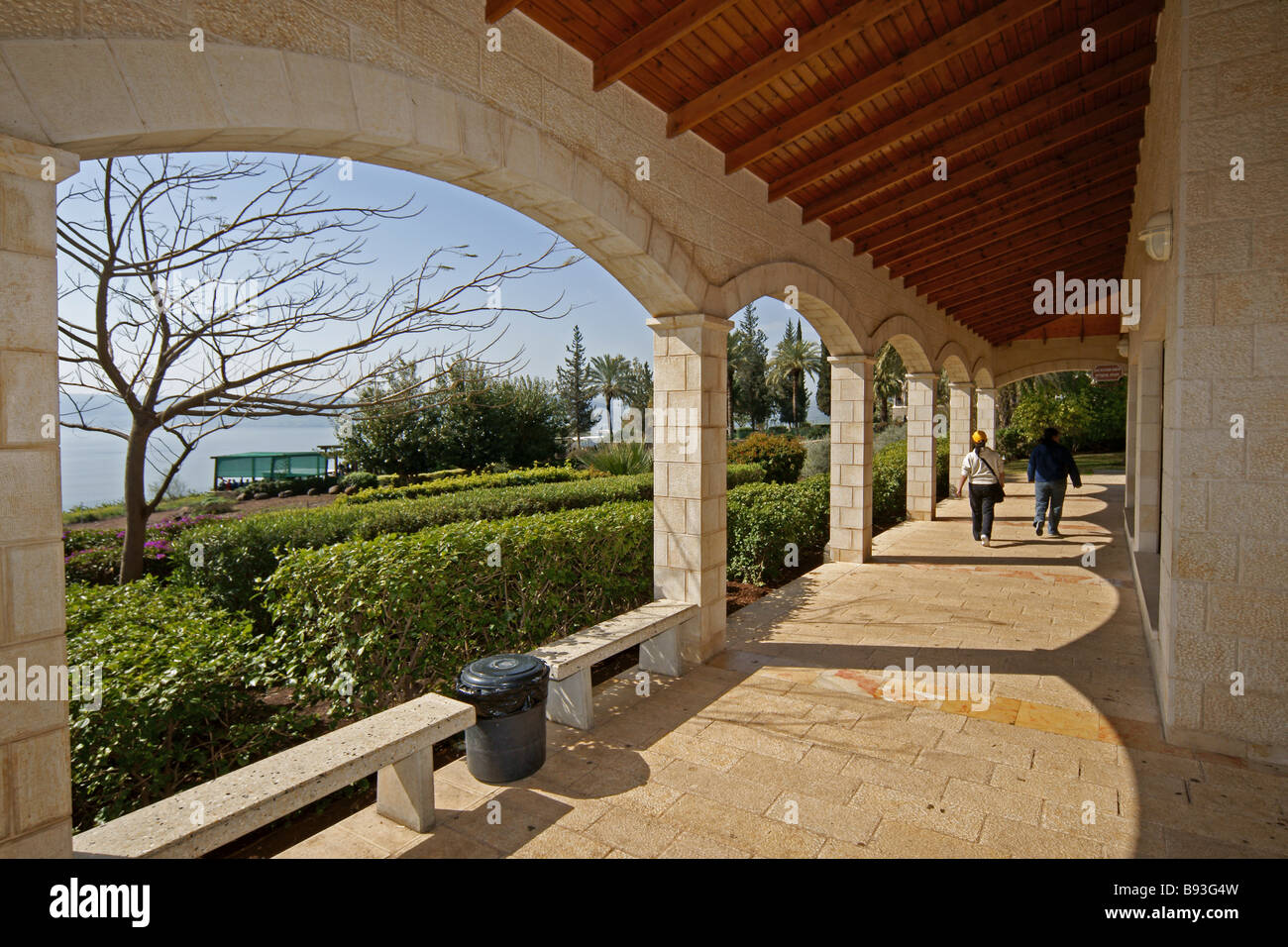 Israel Galilee Church of the Beatitudes on the northern coast of the Sea of Galilee in Israel Stock Photo