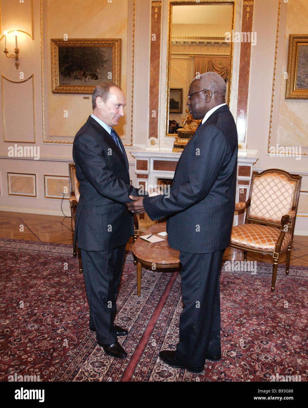 Russian President Vladimir Putin and President of the International Association of Athletics Federations IAAF Lamine - Stock Image