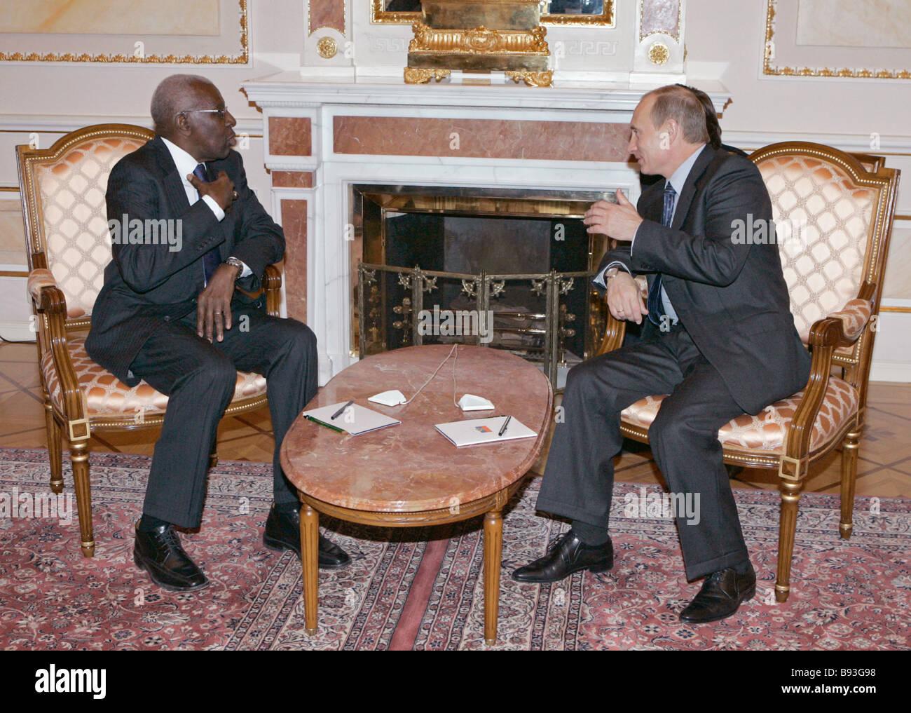 President of the International Association of Athletics Federations IAAF Lamine Diack and Russian President Vladimir - Stock Image