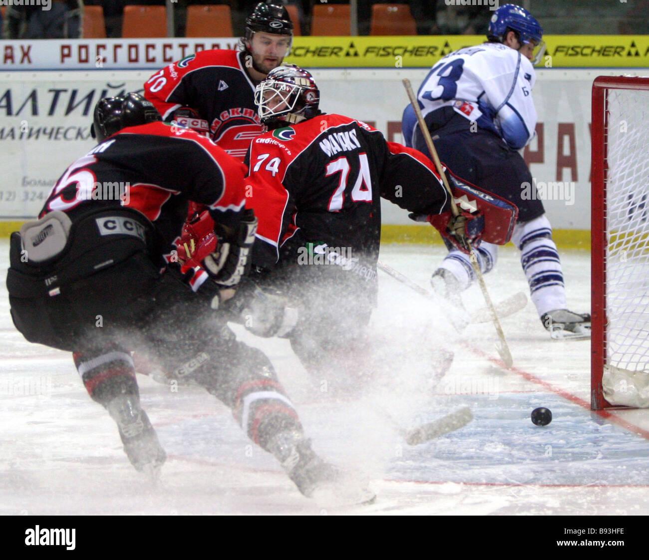 Russian Ice Hockey Championship playoff series semi final Dinamo Moscow vs Avangard Omsk - Stock Image