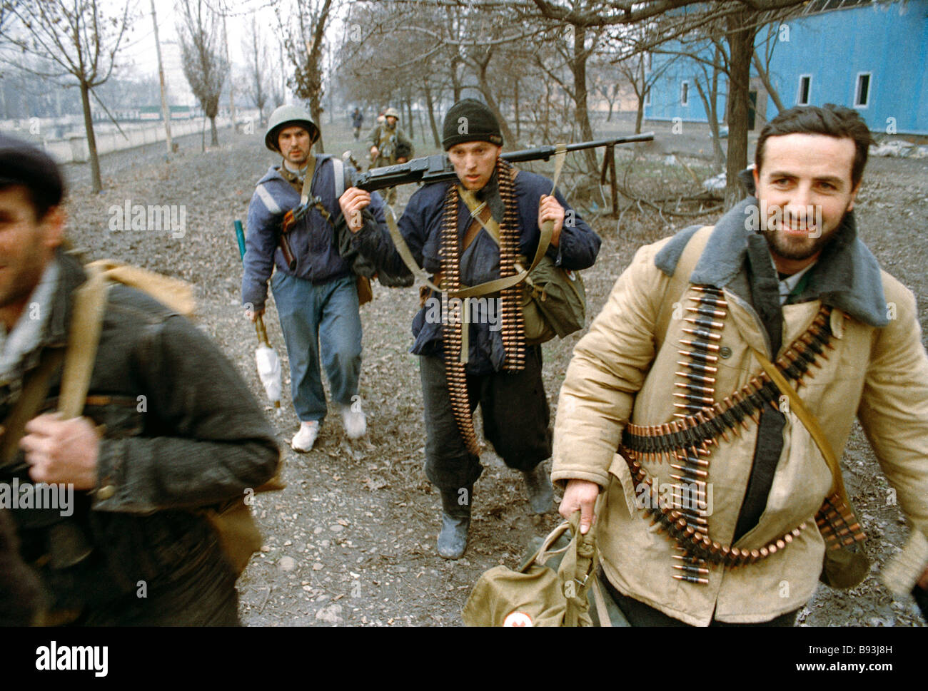 Illegal Chechen paramilitary units in Grozny January 1 1995 - Stock Image