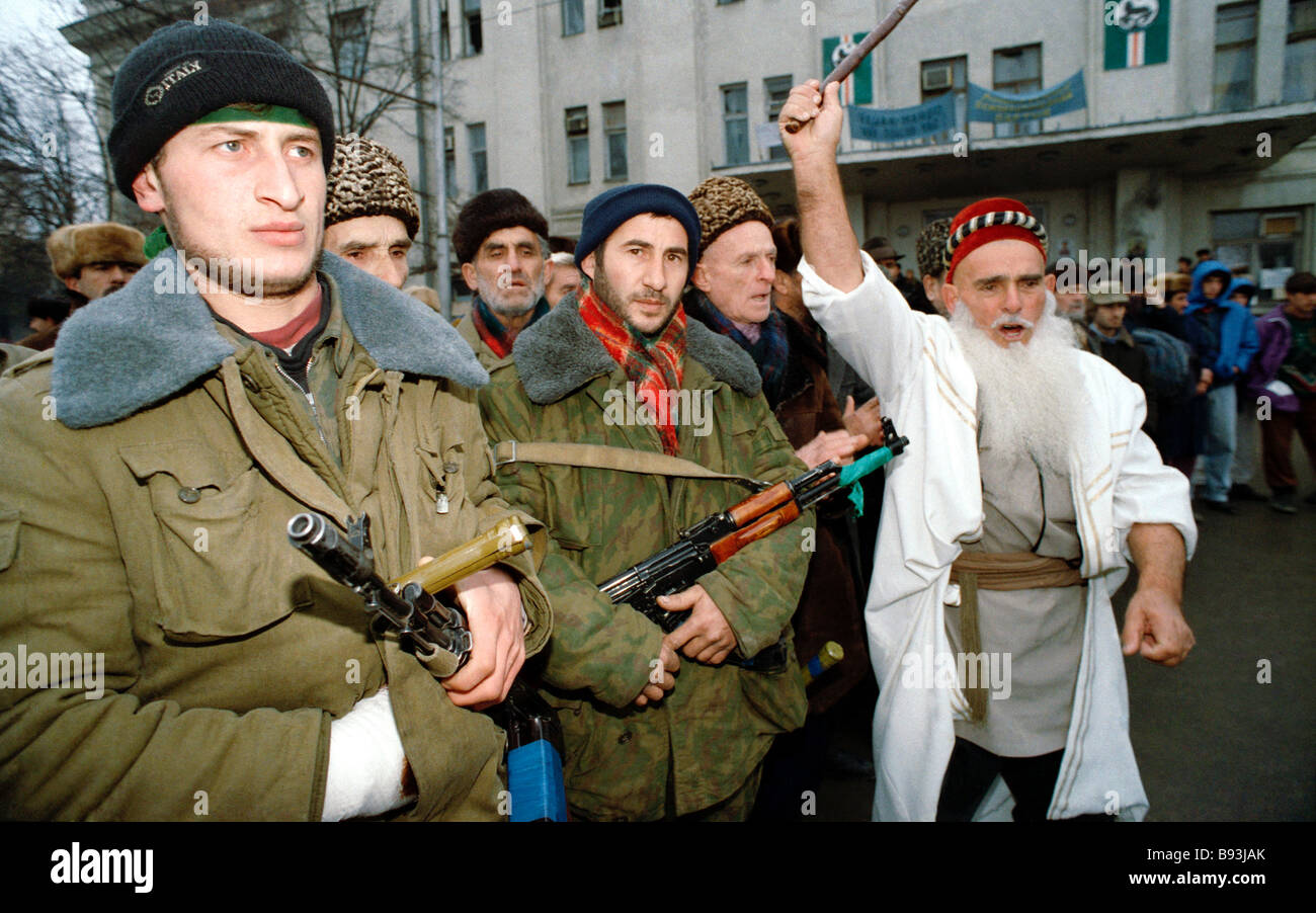 Insurgents in Grozny the Chechen capital in January 1995 - Stock Image