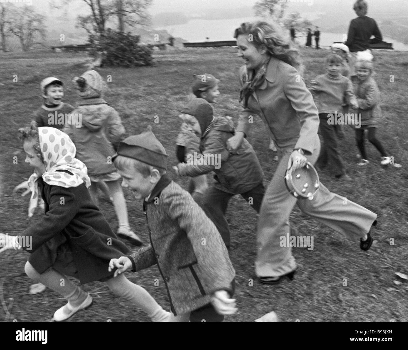 The Proletarsky district s nursery No 492 charges taken by their teacher for a walk - Stock Image