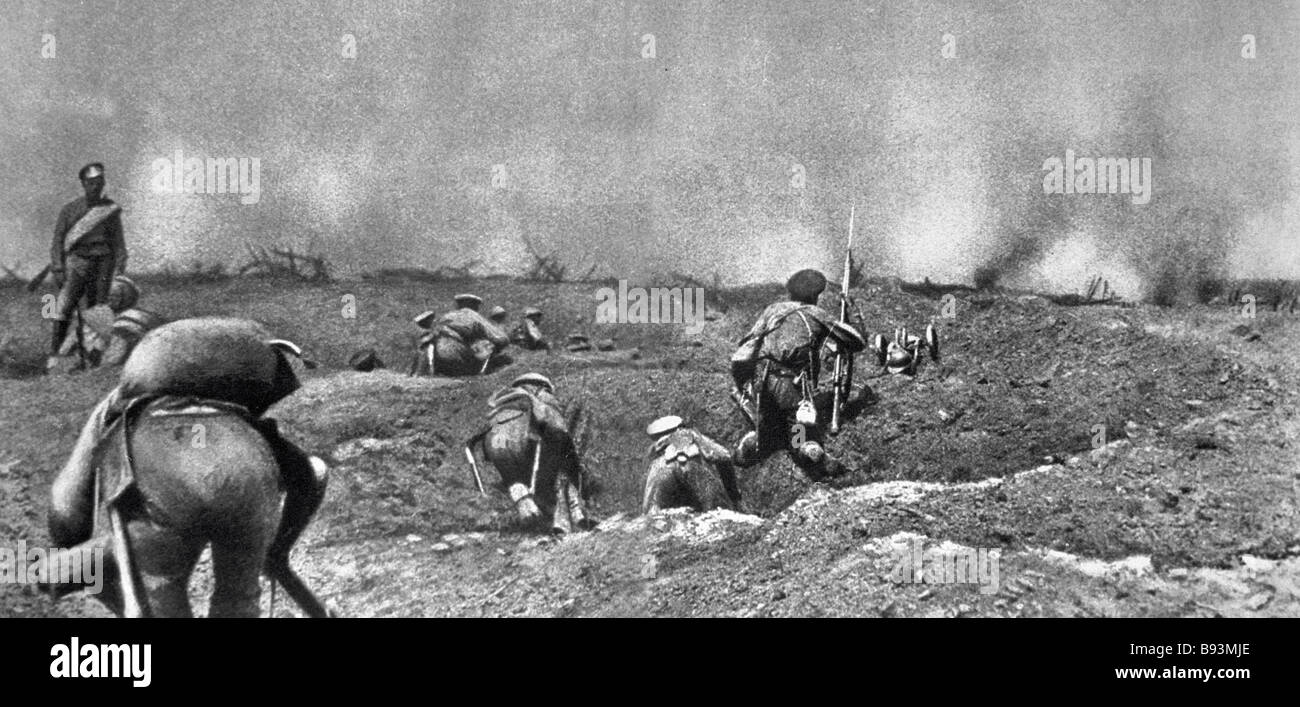 A battle during World War One - Stock Image