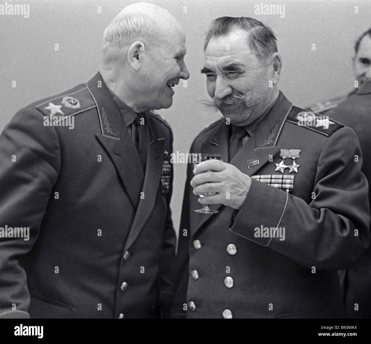 Marshals of the Soviet Union Ivan Konev left and Semyon Budyonny right at a veterans get together in the Kremlin - Stock Image