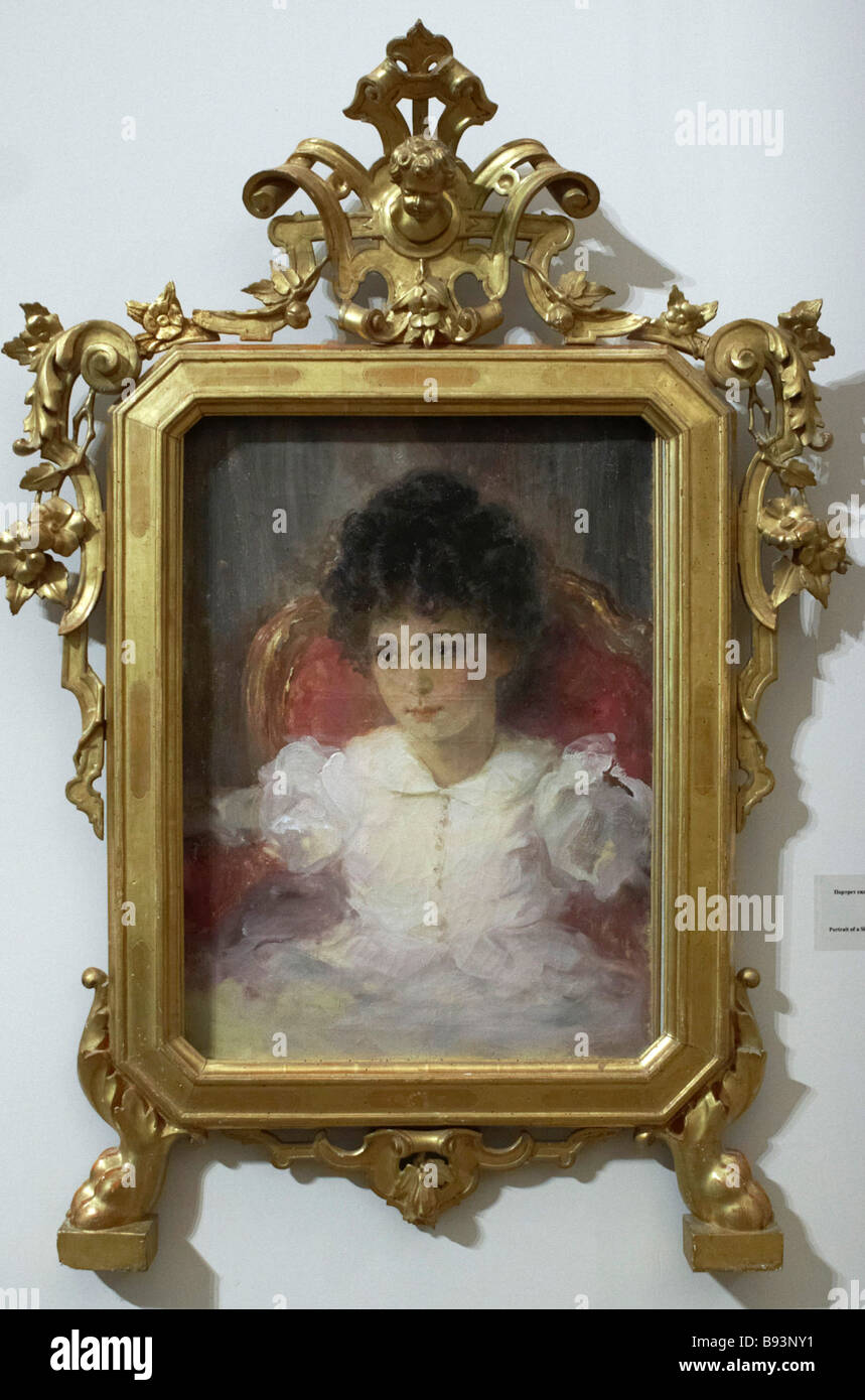 Portrait of a Young Sitting Girl 1899 by Valentine Serov It is part of the exhibition Time to Collect Russian Art - Stock Image