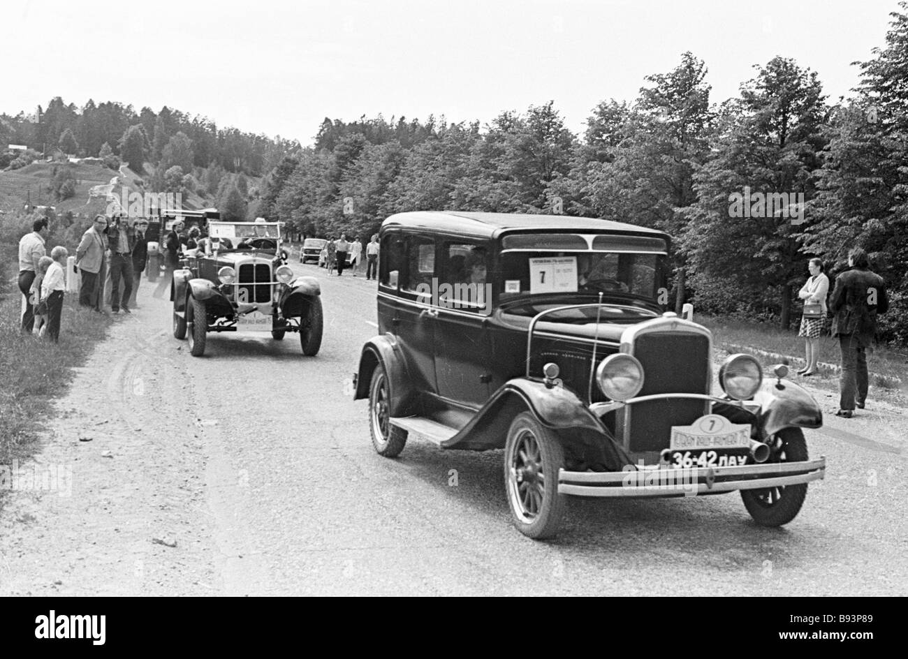 Antique car club members on old cars - Stock Image