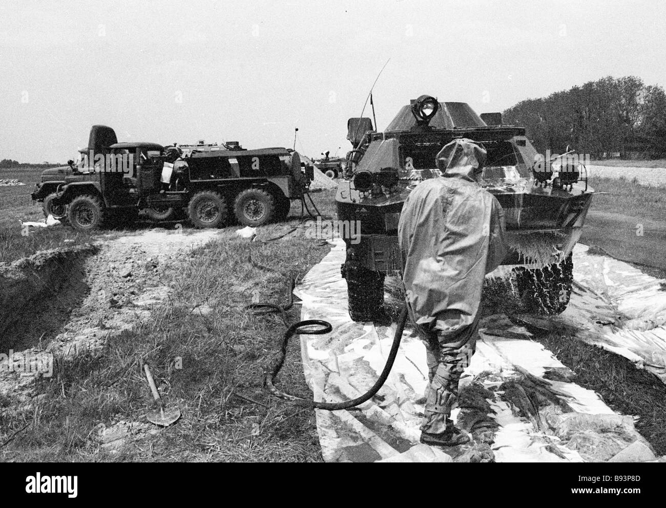 Military hardware working in the Chernobyl disaster area undergoing decontamination at the special point of decontamination - Stock Image