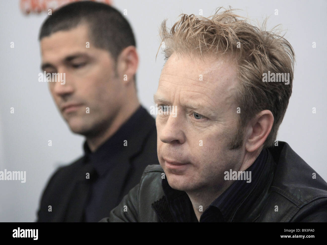 Anticipating the upcoming show of the movie Vantage Point in Russian cinemas the director Pete Travis right and - Stock Image