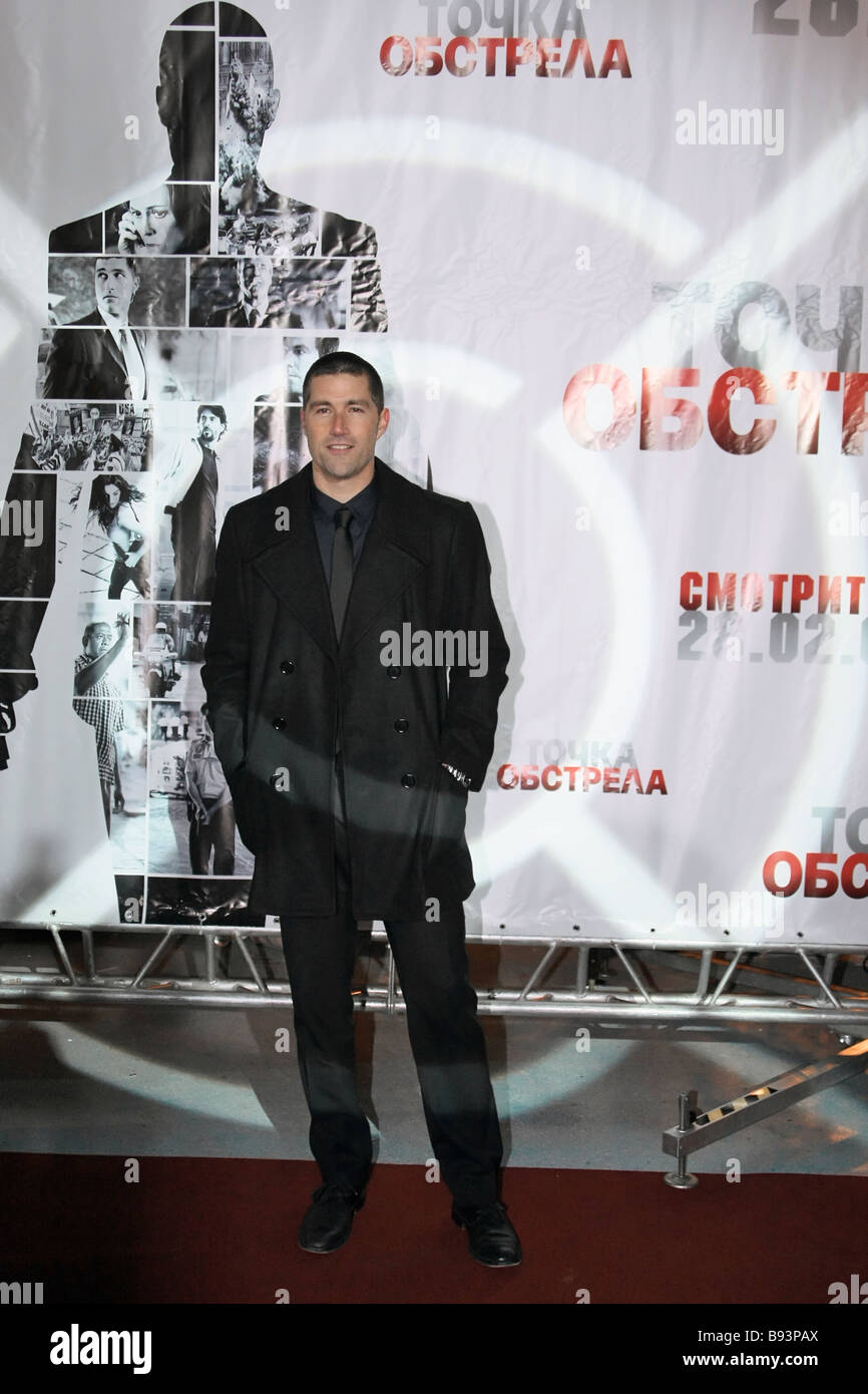 Matthew Fox who plays a leading role in the movie Vantage Point before its Russian premiere at the Pushkinsky Movie - Stock Image