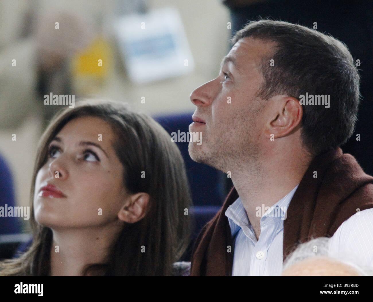 Russian business tycoon Roman Abramovich Chelsey club proprietor with Russian lioness Darya Zhukova watching the - Stock Image