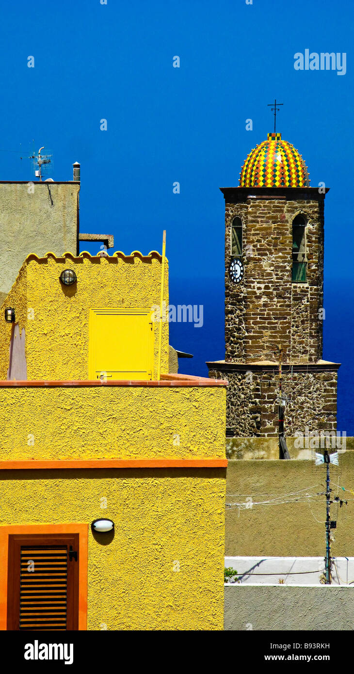Roofs and bell tower of Castelsardo's church. Sassari Province. Sardegna. Italy - Stock Image