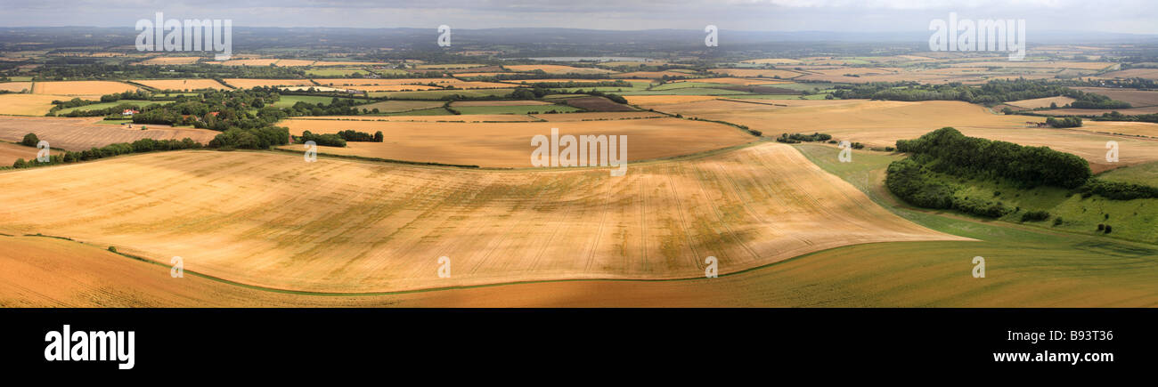 Patchwork of fields, a view from the 'South Downs' East Sussex. - Stock Image