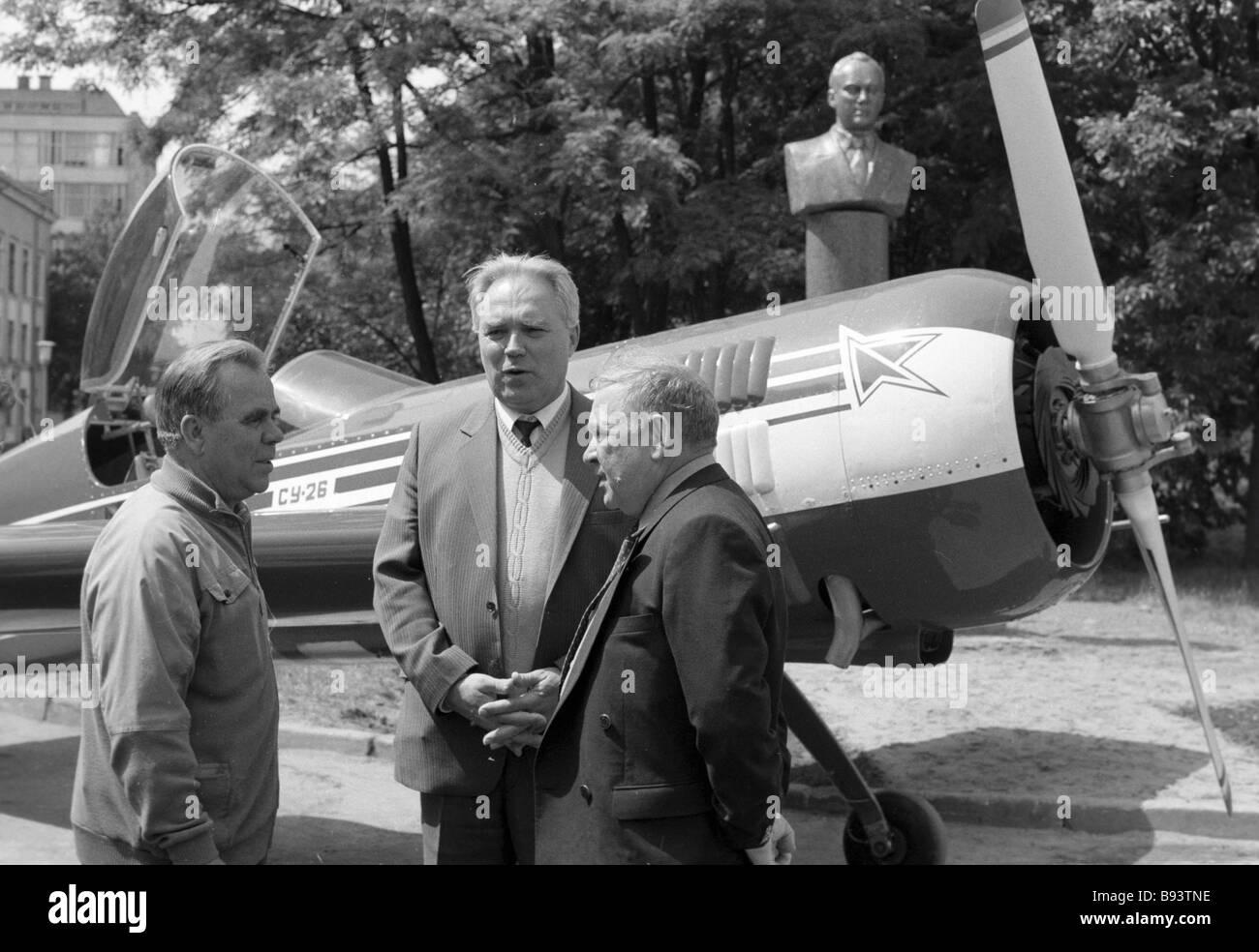 M Pakhomov chief aerobatic plane builder of the Sukhoi design bureau M Simonov chief designer of the Sukhoi design - Stock Image