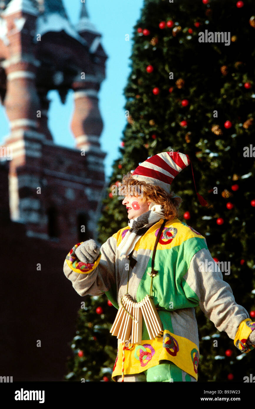 When Is Russian Christmas.Clown Entertains Moscow Residents And Visitors During
