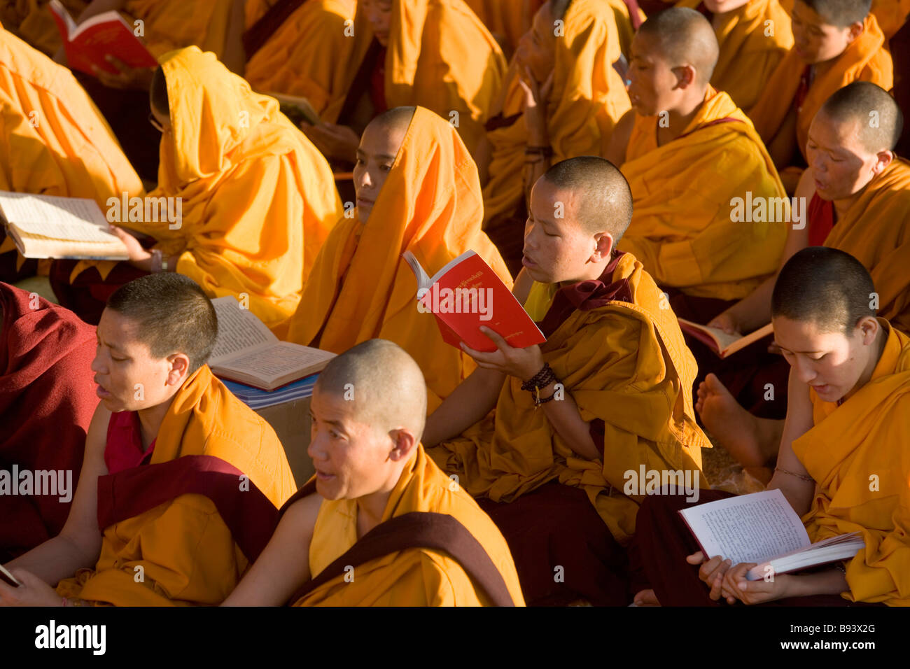 Monks attending buddhist teachings Bodh Gaya, nr Gaya, Bihar, India - Stock Image