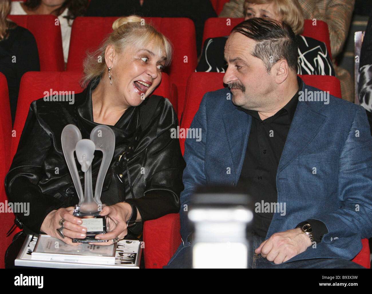 Alexander Mindadze Best Script nomination winner and wife during the White Elephant decoration gala at the Central - Stock Image