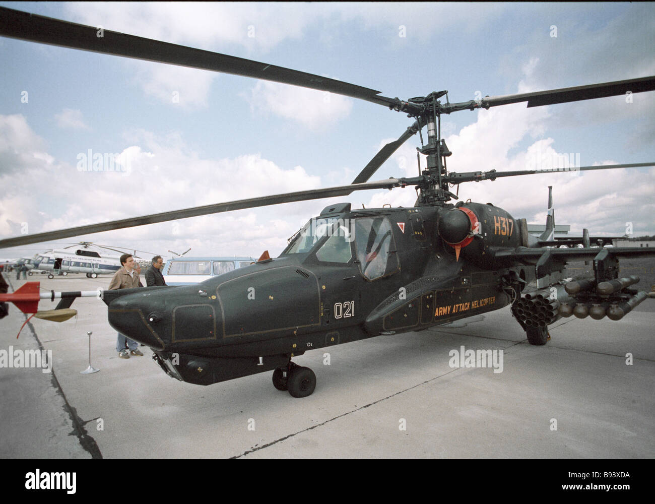 The Ka 40 one seater army combat helicopter Black Shark on an airfield - Stock Image
