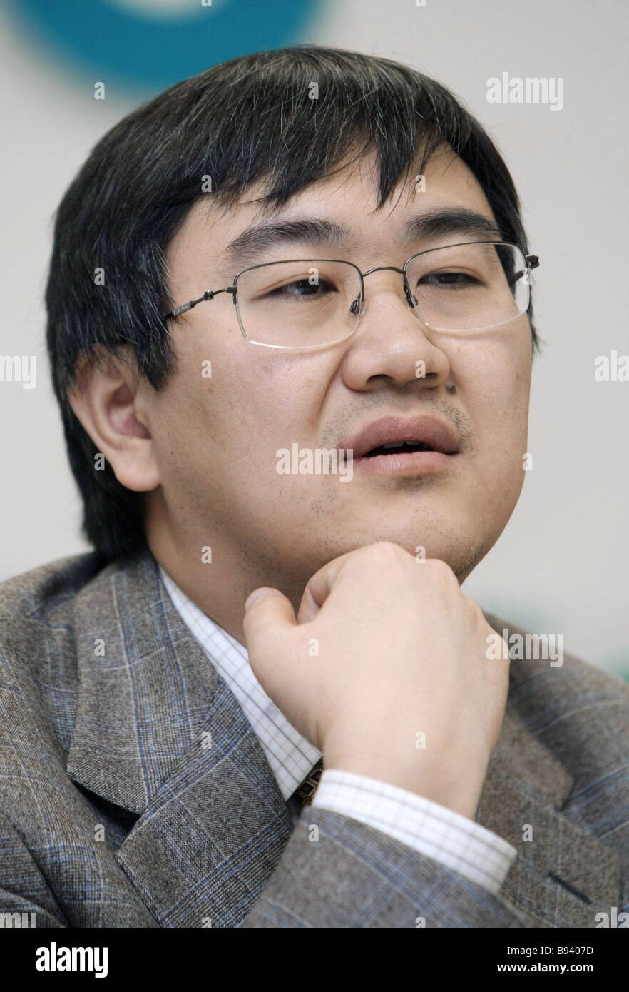 Igor Kim the chairman of the board of directors of URSA Bank at a news conference in Moscow - Stock Image
