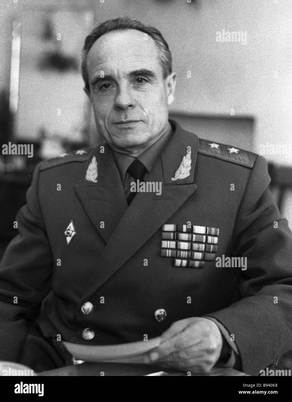 Lieutenant General Arkady Ilyenko in charge of the Semipalatinsk nuclear testing ground - Stock Image