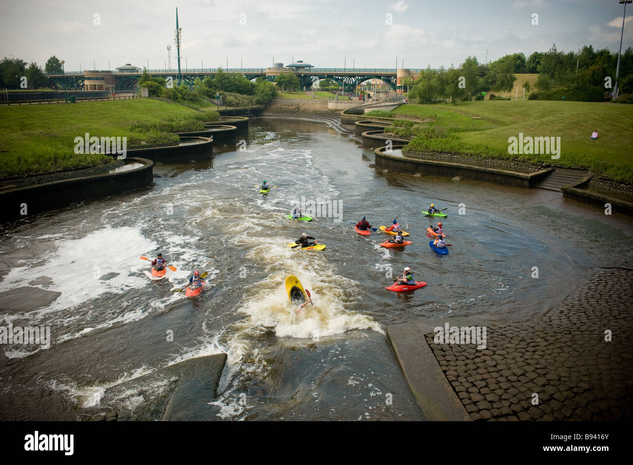 Kayak training at Tees Side white water centre River Tees UK - Stock Image