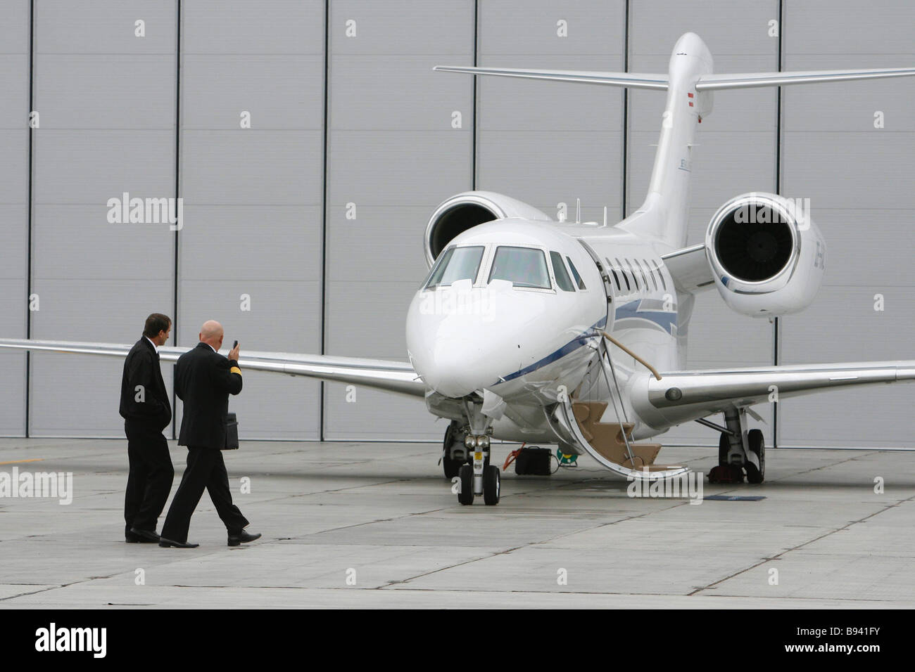 A business class plane Cessna 750 Citation X at the 2nd International Business Aviation Exhibition Jet Expo 2007 - Stock Image