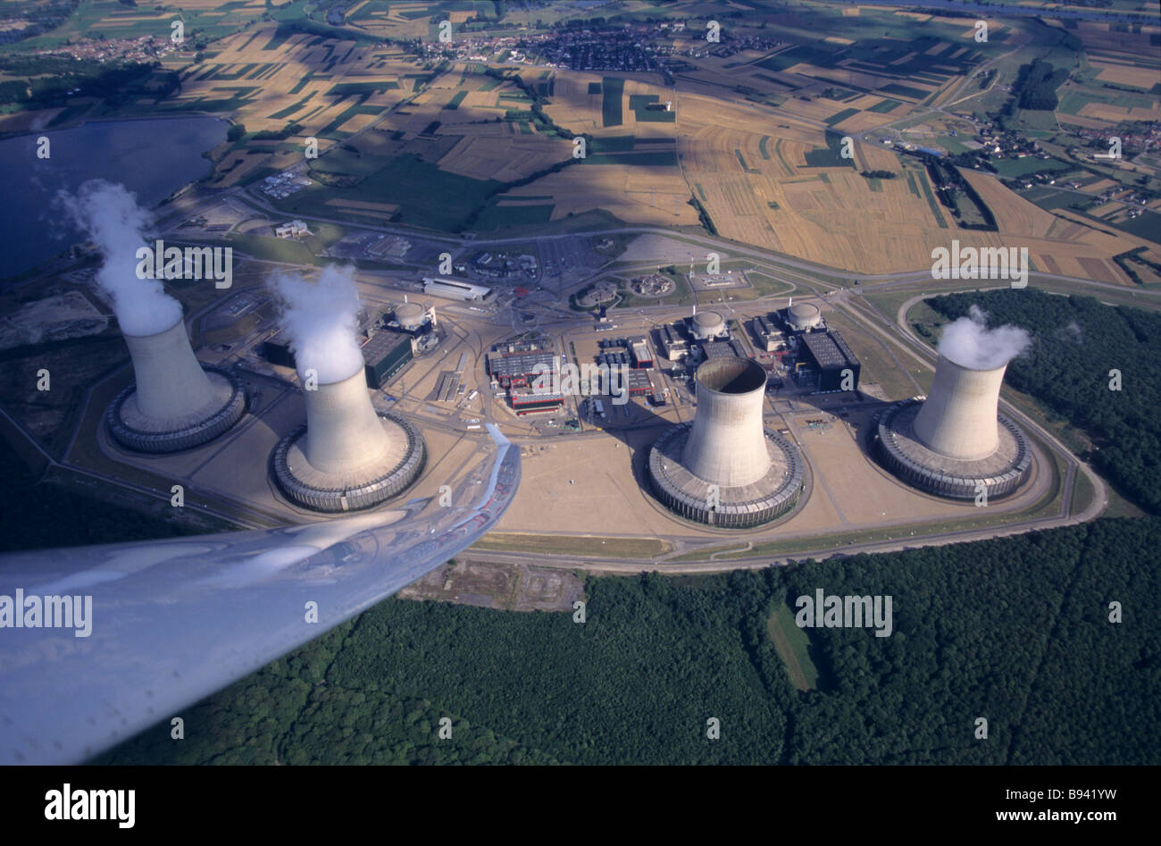 Overview of nuclear power plants at Catenom - France - Stock Image