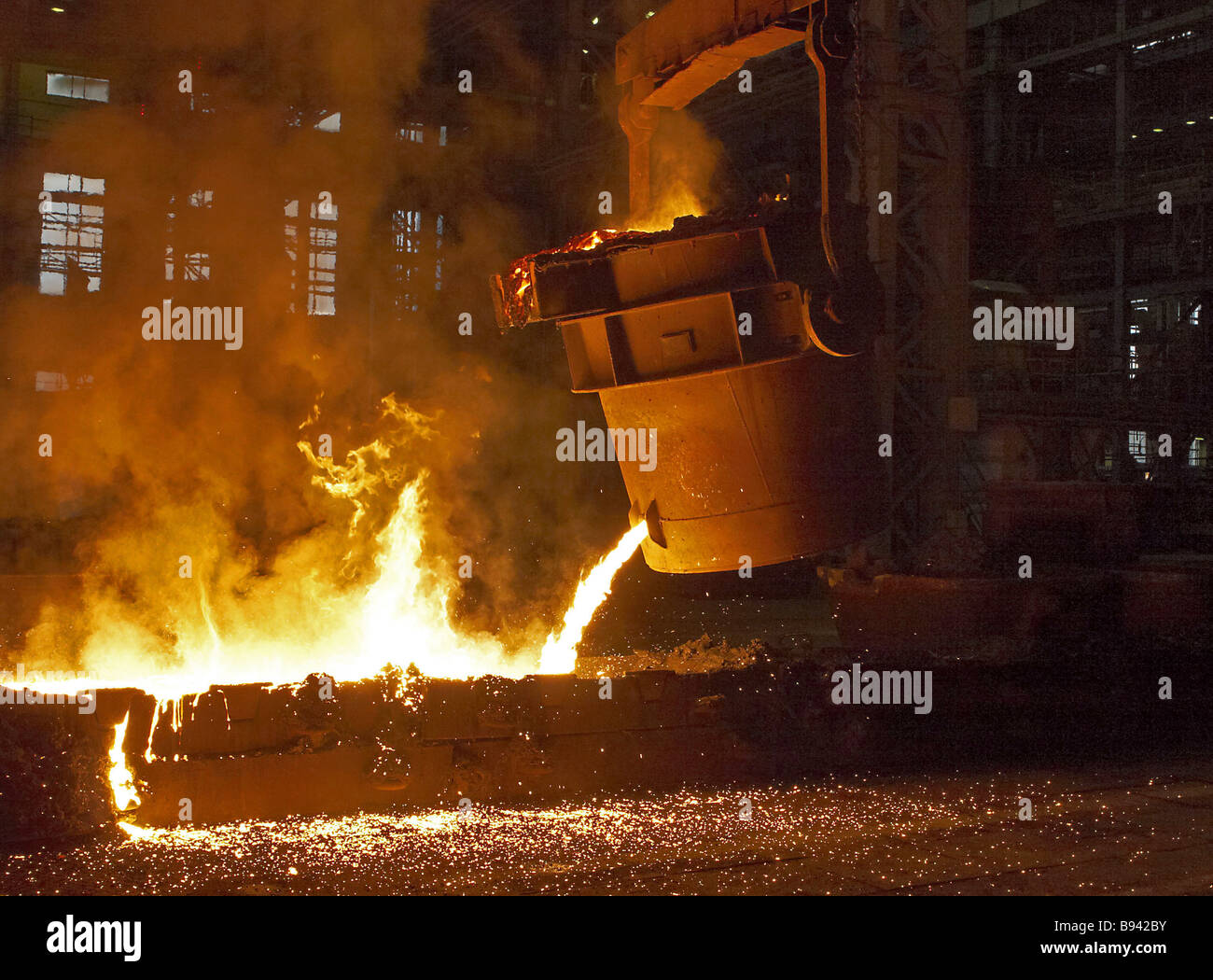 Molten ferrochrome alloy casting A smelter for ferrochrome smelting The Tikhvin Ferro alloys Plant CJSC Leningrad - Stock Image