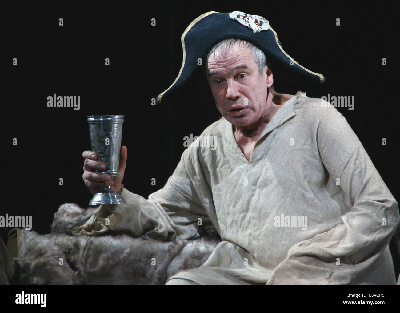 Actor Sergei Garmash as Famusov during a pre premiere showing of Alexander Griboyedov s comedy Wit Works Woe in - Stock Image