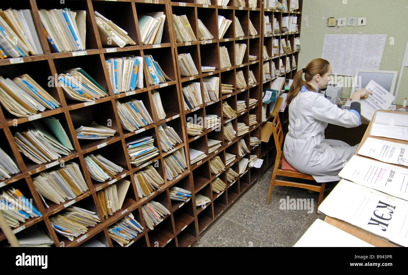Doctors schedule at an outpatient clinic in Veliky Novgorod - Stock Image