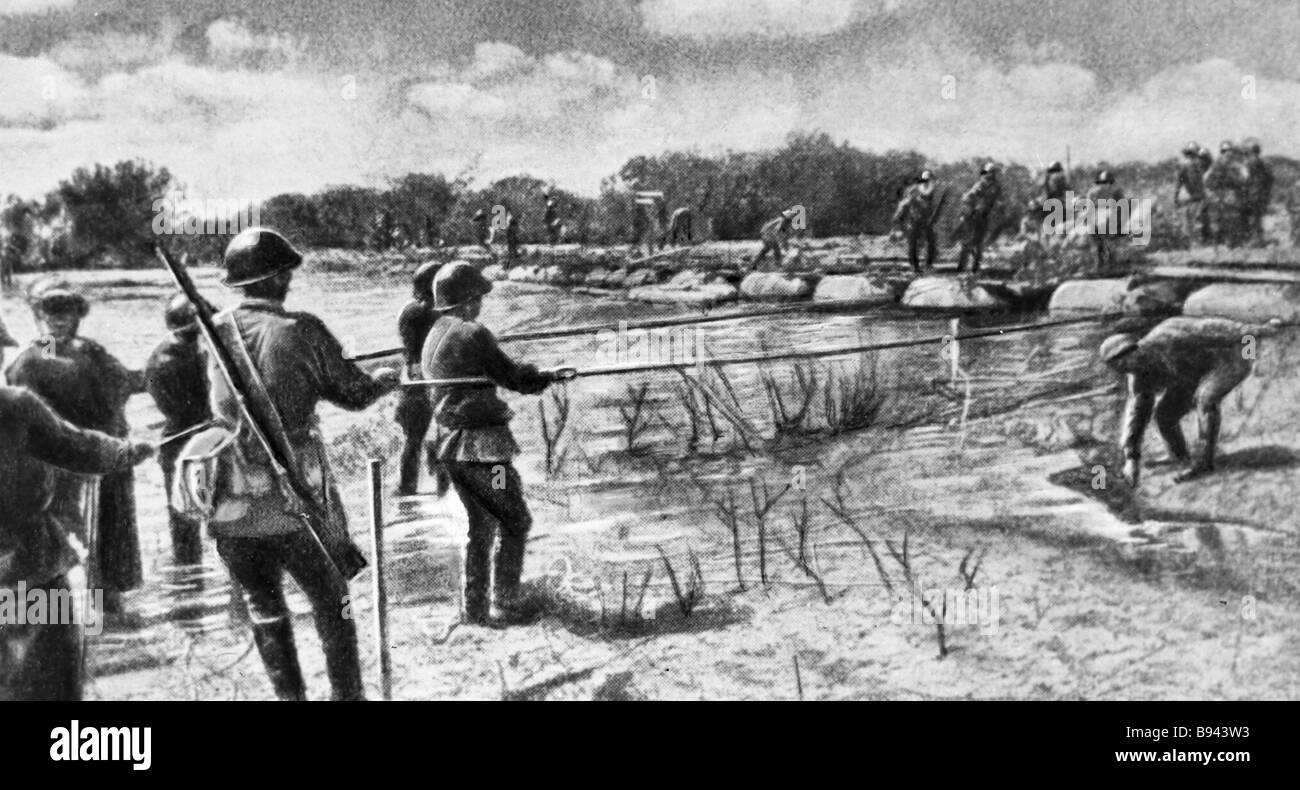 Soldiers spanning the Khalkhin Gol River - Stock Image