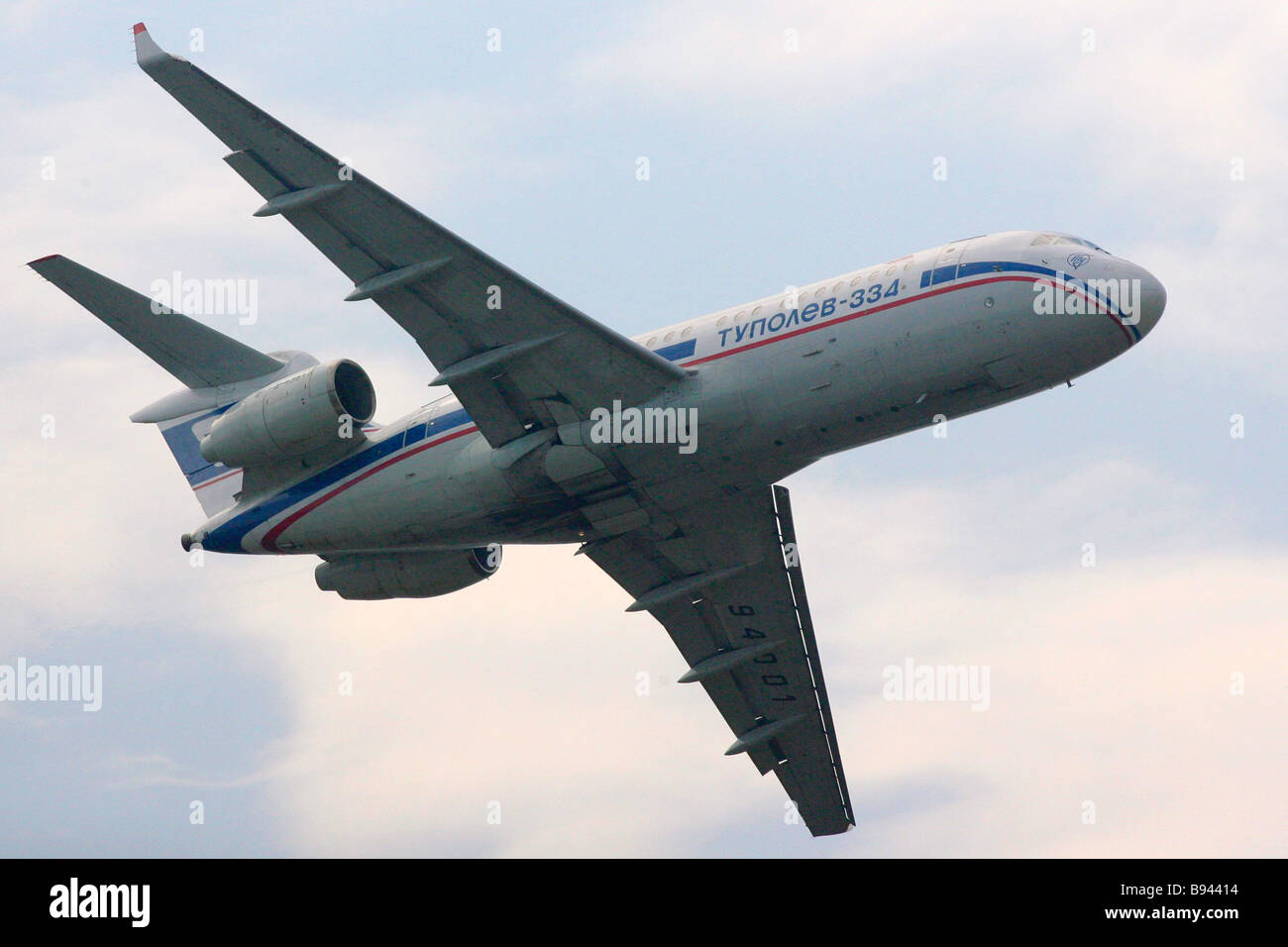 A Tupolev 334 short haul turbojet aircraft during a demonstration flight at the 8th International air and space - Stock Image