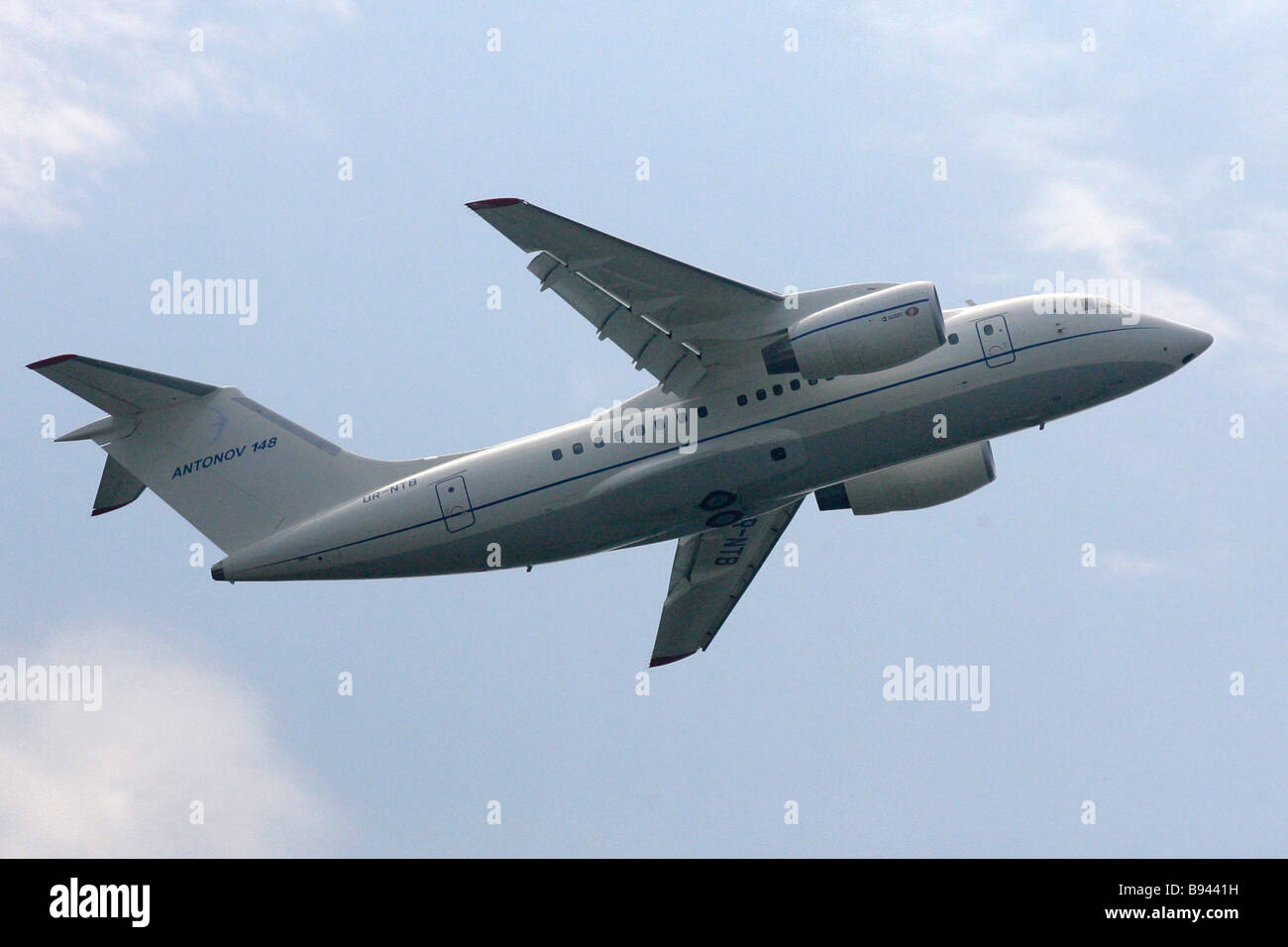 An Antonov 148 short haul plane during a demonstration flight at the 8th International air and space show MAKS 2007 - Stock Image
