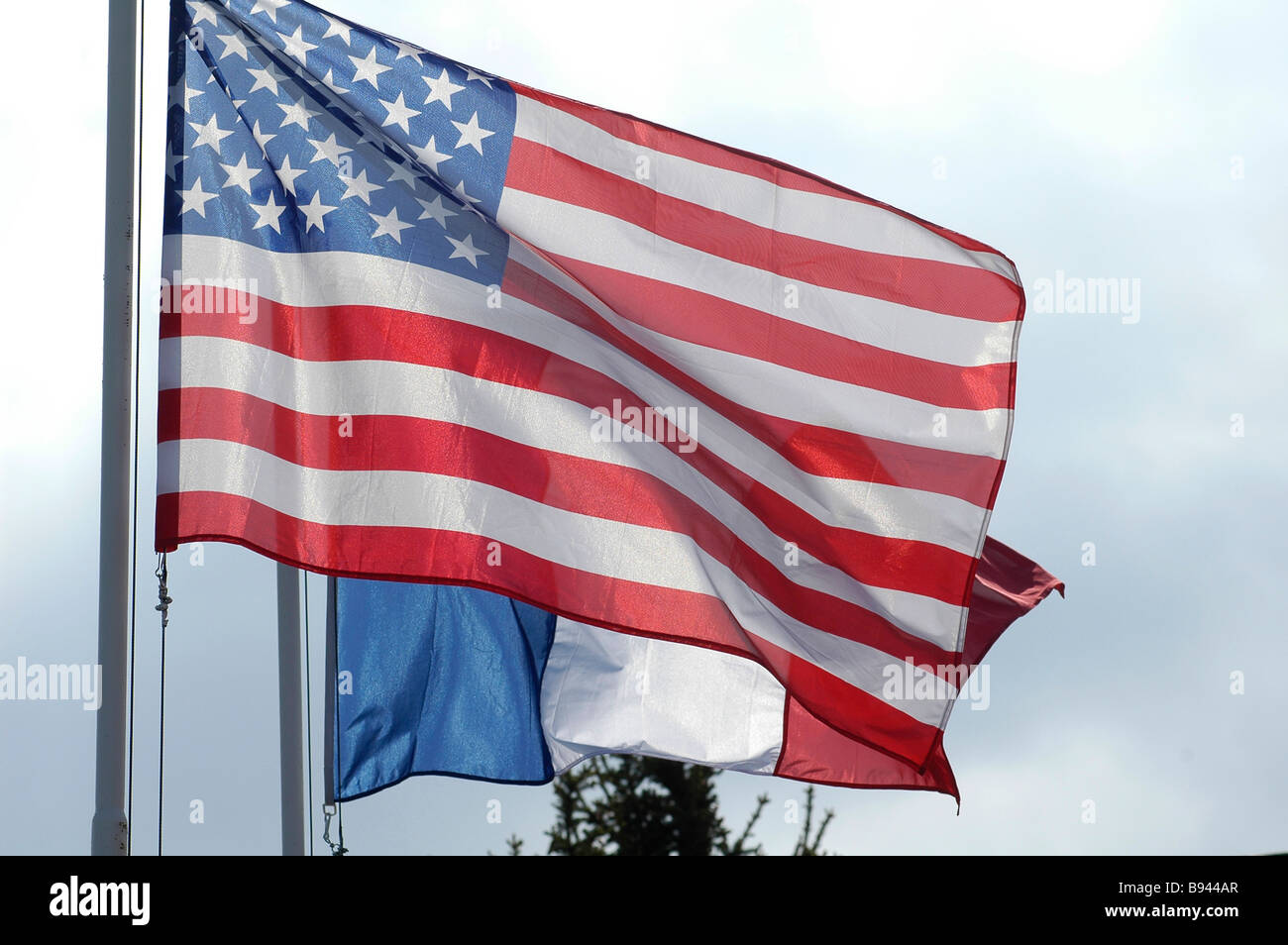 Flags of France and Unites States - Stock Image