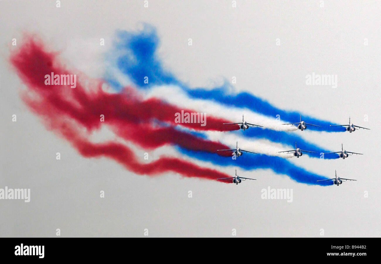 The Patrouille de France aerobatic team during a training flight at the MAKS 2007 air show in Zhukovsky - Stock Image